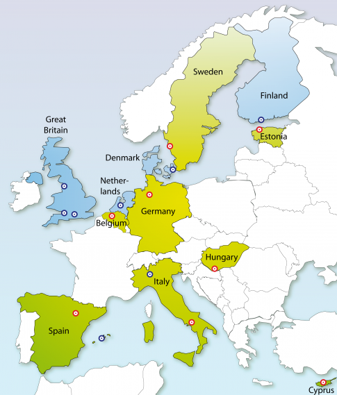 Map of project partners throughout Europe